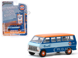 1968 Ford Club Wagon Bus Blue Orange Top Gulf Oil Running on Empty Series 10 1/64 Diecast Model Greenlight 41100 B