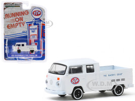 Volkswagen T2 Type 2 Double Cab Pickup Truck White STP The Racer's Edge Running on Empty Series 10 1/64 Diecast Model Greenlight 41100 D