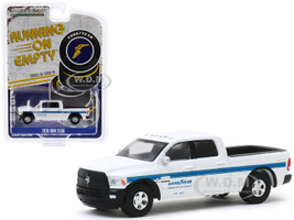 2018 RAM 2500 4x4 Pickup Truck White Blue Stripes Goodyear Commercial Tire & Service Centers Running on Empty Series 10 1/64 Diecast Model Car Greenlight 41100 F