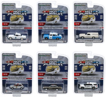 Hot Pursuit Series 34 Set of 6 Police Cars 1/64 Diecast Models Greenlight 42910