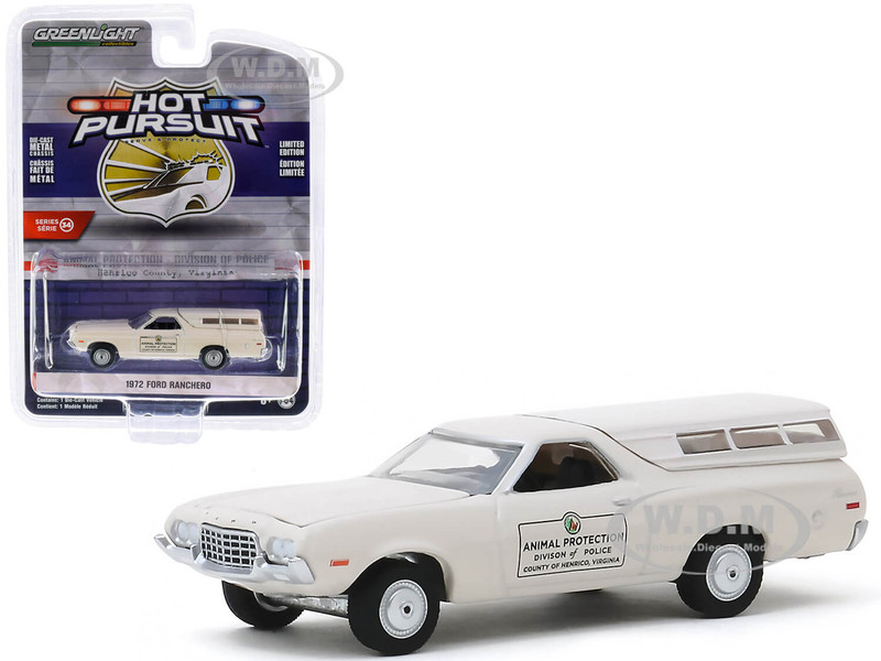 1972 Ford Ranchero with Canopy Cream Animal Protection Division of Police Henrico County Virginia Hot Pursuit Series 34 1/64 Diecast Model Car Greenlight 42910 C
