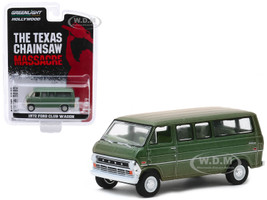 1972 Ford Club Wagon Bus Green Weathered The Texas Chain Saw Massacre 1974 Movie Hollywood Series Release 27 1/64 Diecast Model Greenlight 44870 A
