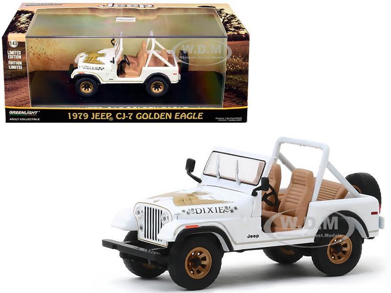 1979 Jeep CJ-7 Golden Eagle Dixie White 1/43 Diecast Model Car Greenlight 86572