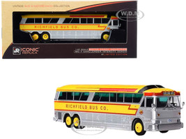 1970 MCI MC-7 Challenger Intercity Motorcoach Richfield Bus Co Excelsior Minneapolis Minnesota USA Silver Yellow Vintage Bus & Motorcoach Collection 1/87 HO Diecast Model Iconic Replicas 87-0185