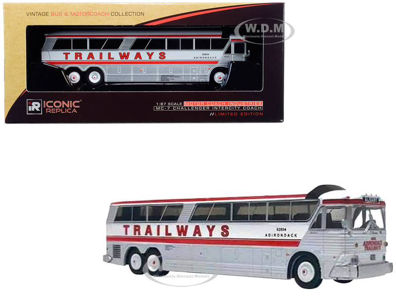 1970 MCI MC-7 Challenger Intercity Motorcoach Adirondack Trailways Destination Albany New York White Silver Red Stripes Vintage Bus & Motorcoach Collection 1/87 HO Diecast Model Iconic Replicas 87-0187