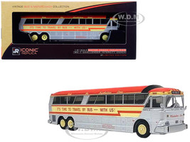 1970 MCI MC-7 Challenger Intercity Motorcoach Manhattan Lines Destination New York City It's Time to Travel by Bus with Us Orange Silver Yellow Stripes Vintage Bus & Motorcoach Collection 1/87 HO Diecast Model Iconic Replicas 87-0188