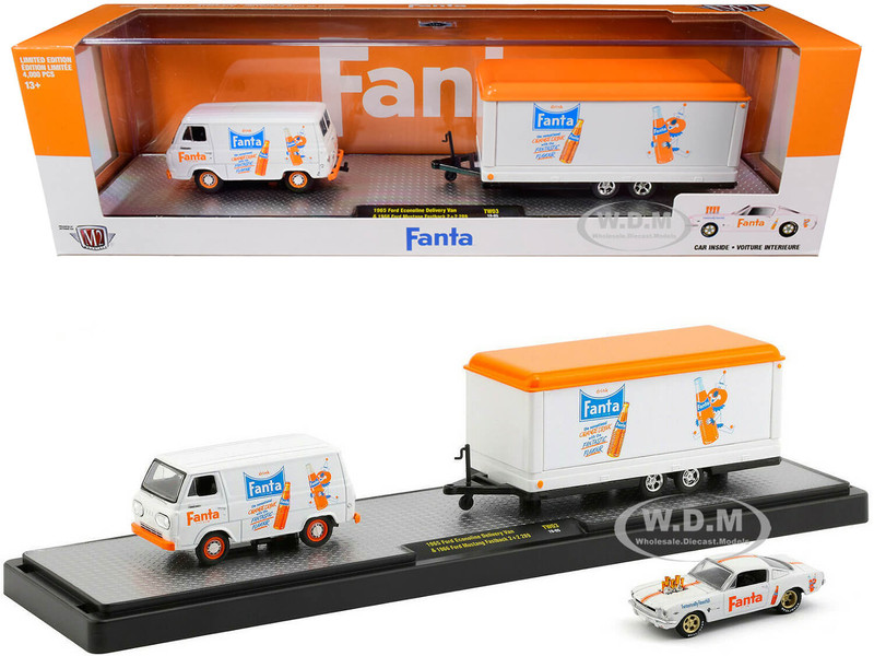 1965 Ford Econoline Delivery Van White Trailer 1966 Ford Mustang Fastback 2+2 289 White Orange Stripes Fanta Set Limited Edition 4000 pieces Worldwide 1/64 Diecast Models M2 Machines 56000-TW03