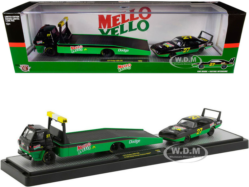 1970 Dodge L600 Flatbed Truck #27 1969 Dodge Charger Daytona HEMI #27 Green Black Red Stripes Mello Yello Set Limited Edition 4000 pieces Worldwide 1/64 Diecast Models M2 Machines 56000-TW03