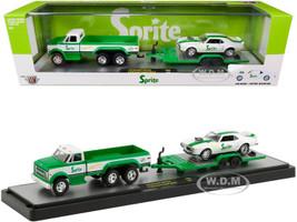 1970 Chevrolet C60 Pickup Truck Custom Green White Trailer 1968 Pontiac Firebird 400 HO White Green Stripes Sprite Set Limited Edition 4000 pieces Worldwide 1/64 Diecast Models M2 Machines 56000-TW03