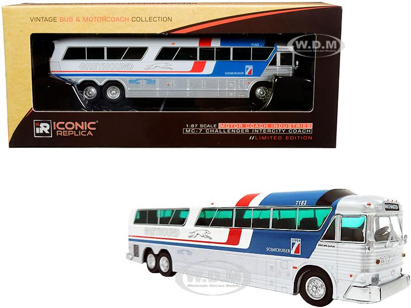 1970 MCI MC-7 Challenger Intercity Motorcoach Greyhound Scenicruiser Destination Washington Pepsi paint scheme Vintage Bus & Motorcoach Collection 1/87 HO Diecast Model Iconic Replicas 87-0183