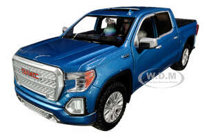2019 GMC Sierra 1500 Denali Crew Cab Pickup Truck Blue Metallic 1/24 1/27 Diecast Model Car Motormax 79362