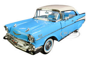 1957 Chevrolet Bel Air Hardtop Light Blue White Top 1/18 Diecast Model Car Road Signature 92109