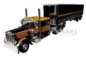 "Peterbilt 359 63"" Flattop Sleeper Cab 53' Utility Tautliner Spread-Axle Trailer Black Gold Red Stripes 1/64 Diecast Model DCP First Gear 60-0753"