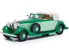 1934 Hispano Suiza J12 Three-Position Drophead Coupe Fernandez & Darrin Green White Top Limited Edition 300 pieces Worldwide 1/18 Model Car Esval Models EMEU18001 A