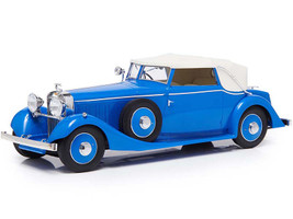 1934 Hispano Suiza J12 Three-Position Drophead Coupe Fernandez & Darrin Blue White Top Limited Edition 300 pieces Worldwide 1/18 Model Car Esval Models EMEU18001 B