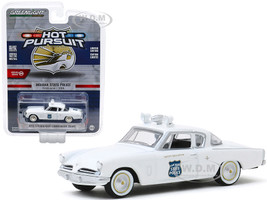 1953 Studebaker Commander Coupe White Indiana State Police Indiana USA Hot Pursuit Series 34 1/64 Diecast Model Car Greenlight 42910 A