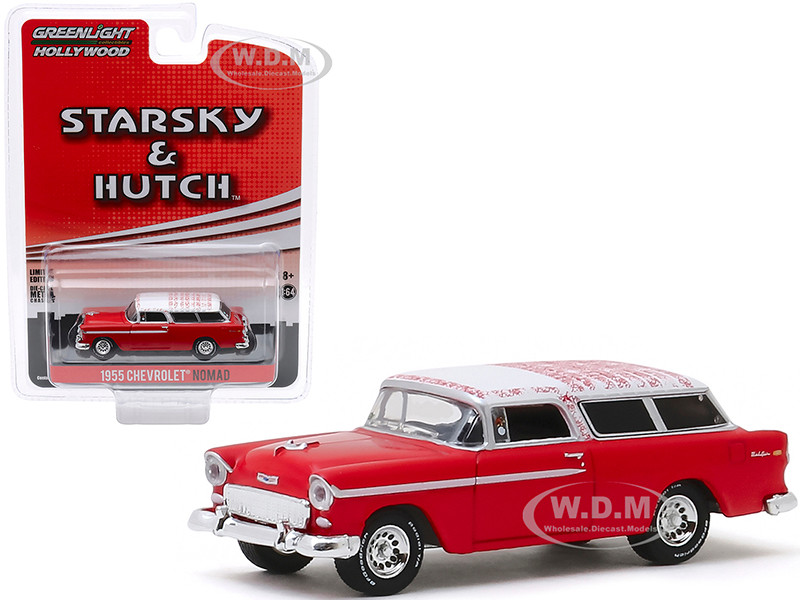 1955 Chevrolet Nomad Red White Top Starsky and Hutch 1975 1979 TV Series Hollywood Special Edition 1/64 Diecast Model Car Greenlight 44855 A