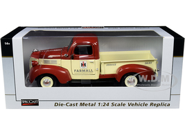 1941 Plymouth Pickup Truck Farmall Red Yellow 1/24 Diecast Model Car SpecCast ZJD1858