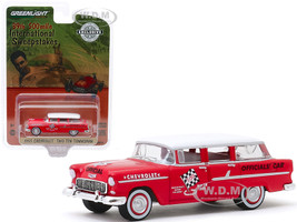 1955 Chevrolet Two-Ten Townsman Officials' Car Red White Top 39th 500 Mile International Sweepstakes Hobby Exclusive 1/64 Diecast Model Car Greenlight 30104