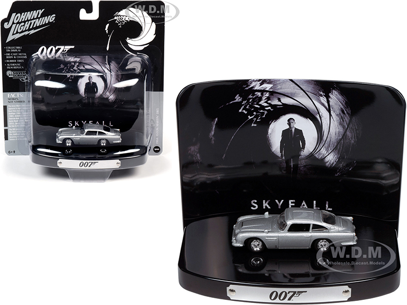 1964 Aston Martin DB5 Silver Birch Collectible Tin Display 007 Skyfall 2012 Movie 23rd in the James Bond Series 1/64 Diecast Model Car Johnny Lightning JLDR013 JLSP083
