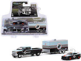 2019 Ford F-350 Lariat Dually Pickup Truck 2019 Ford Mustang Shelby GT350R #2 Enclosed Car Hauler Gulf Oil Racing Hitch and Tow Series 2 1/64 Diecast Model Cars Greenlight 31090 B