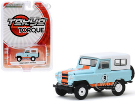 1966 Nissan Patrol #9 Gulf Oil Light Blue White Top Orange Stripes Tokyo Torque Series 8 1/64 Diecast Model Car Greenlight 47060 A