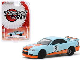 2001 Nissan Skyline GT-R BNR34 #8 Gulf Oil Light Blue Orange Stripes Tokyo Torque Series 8 1/64 Diecast Model Car Greenlight 47060 C