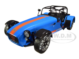 Caterham Seven Academy Blue Metallic Orange Stripes 1/18 Diecast Model Car Solido S1801802