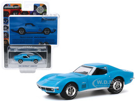 1969 Chevrolet Corvette Light Blue Objects In Mirror Are About To Disappear BFGoodrich Vintage Ad Cars Hobby Exclusive 1/64 Diecast Model Car Greenlight 30137