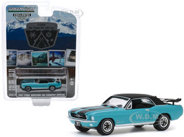 1967 Ford Mustang Coupe Winter Park Turquoise Black Stripes Black Top and a Pair of Skis Ski Country Special Hobby Exclusive 1/64 Diecast Model Car Greenlight 30154