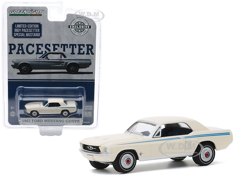 1967 Ford Mustang Coupe Wimbledon White Scotchlite Blue Stripes Indy Pacesetter Special Hobby Exclusive 1/64 Diecast Model Car Greenlight 30161