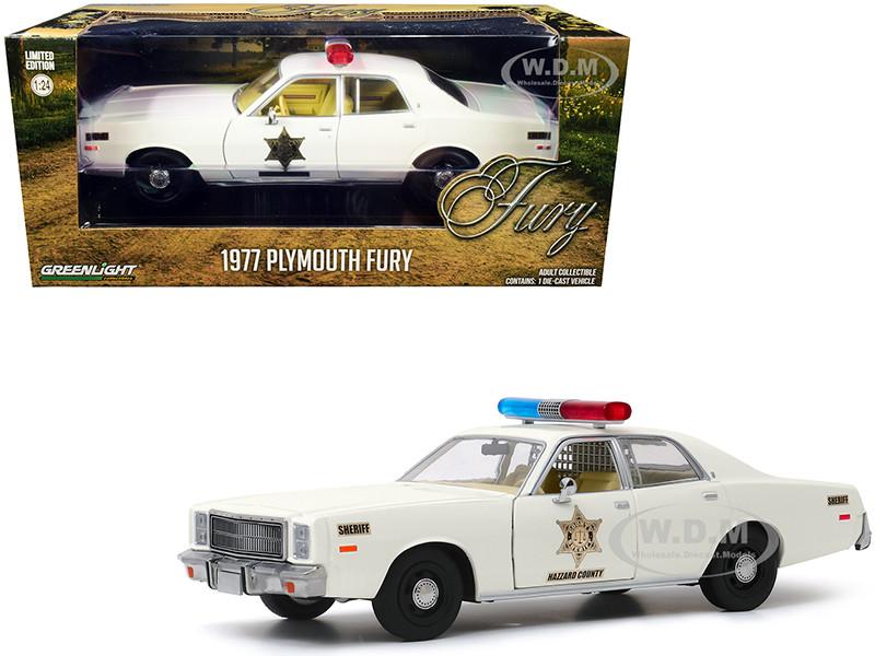 1977 Plymouth Fury Cream Hazzard County Sheriff 1/24 Diecast Model Car Greenlight 84095