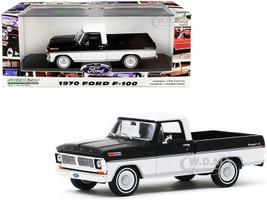 1970 Ford F-100 Ranger XLT Pickup Truck Raven Black Pure White 1/43 Diecast Model Car Greenlight 86338