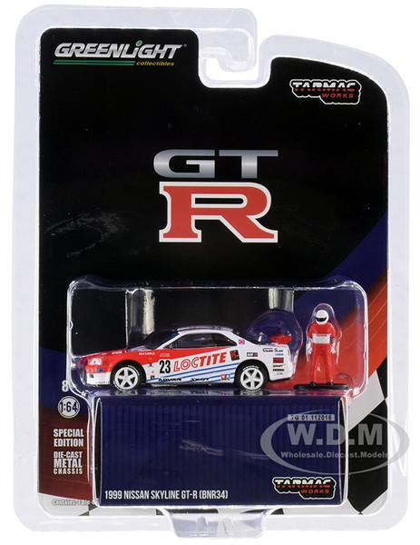 1999 Nissan Skyline GT-R BNR34 #23 Loctite Driver Figurine Tarmac Works Exclusive 1/64 Diecast Model Car Greenlight 51185