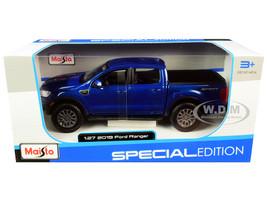 2019 Ford Ranger Lariat Sport Pickup Truck Dark Blue Metallic 1/27 Diecast Model Car Maisto 31521