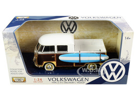 Volkswagen Type 2 T1 Pickup White Yellow Wood Paneling Surfboard 1/24 Diecast Model Car Motormax 79560
