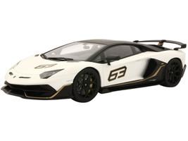 Lamborghini Aventador SVJ #63 Matt White Black Top Gold Stripes 1/18 Model Car Kyosho KSR18512W