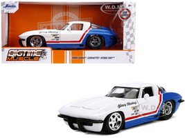 1963 Chevrolet Corvette Stingray White Blue Red Stripe Chevy Racing Bigtime Muscle 1/24 Diecast Model Car Jada 31666