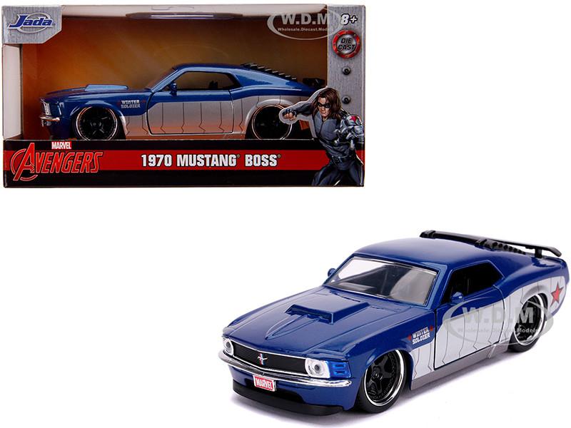 1970 Ford Mustang Boss Blue Metallic Silver Winter Soldier Avengers Marvel Series 1/32 Diecast Model Car Jada 31745