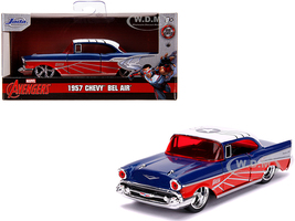 1957 Chevrolet Bel Air Blue Metallic Red White Top Falcon Avengers Marvel Series 1/32 Diecast Model Car Jada 31762