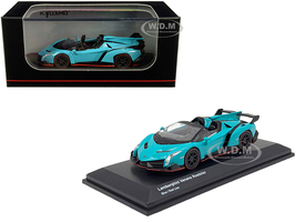 Lamborghini Veneno Roadster Light Blue Red Line 1/64 Diecast Model Car Kyosho KS07040A4