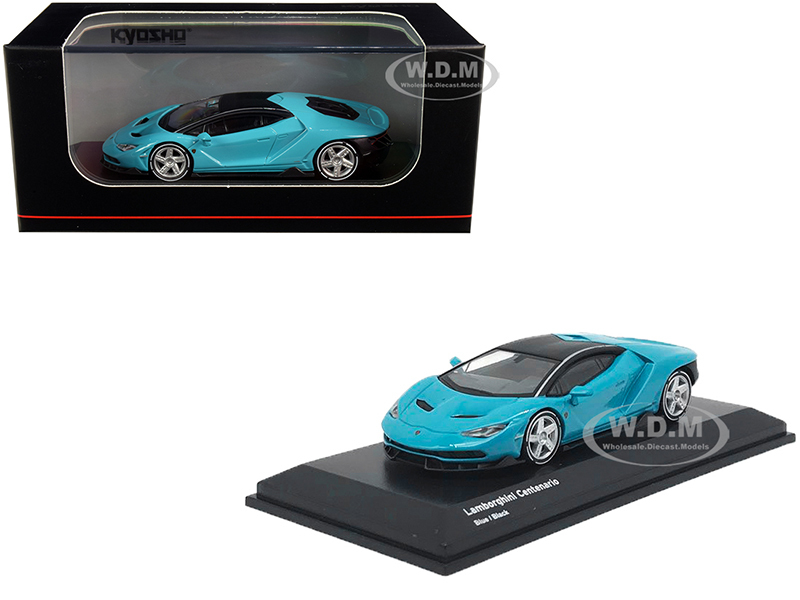 Lamborghini Centenario Light Blue Black Top 1/64 Diecast Model Car Kyosho KS07065A4