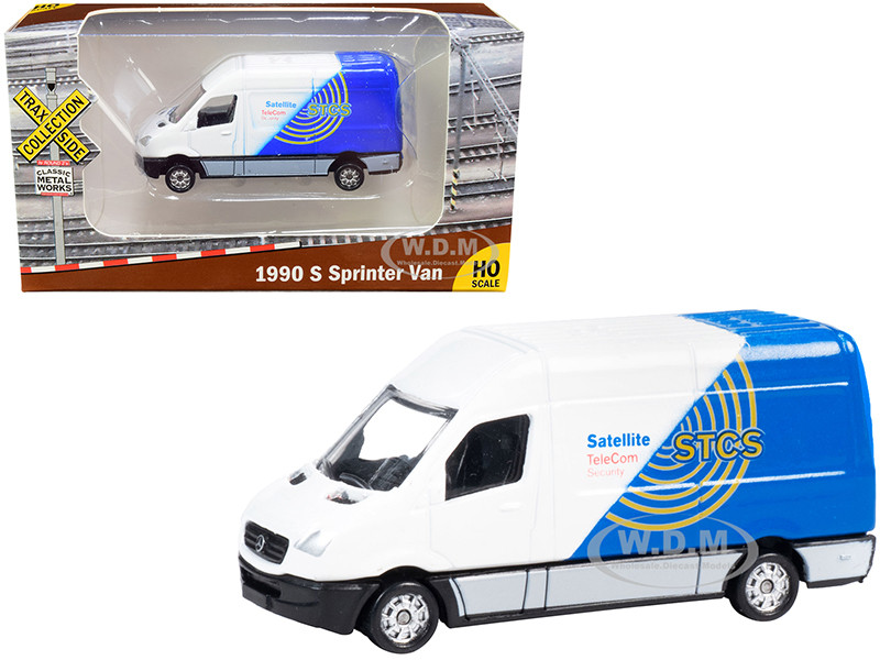 1990 Mercedes Benz Sprinter Van White Blue STCS Satellite TeleCom Security TraxSide Collection 1/87 HO Scale Diecast Model Classic Metal Works TC102