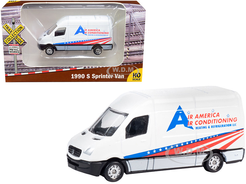 1990 Mercedes Benz Sprinter Van White Air America Air Conditioning Heating Refrigeration LLC TraxSide Collection 1/87 HO Scale Diecast Model Classic Metal Works TC104