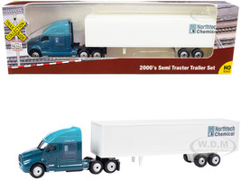 2000's Semi Tractor Trailer Truck Dark Blue White Northtech Chemical TraxSide Collection 1/87 HO Scale Diecast Model Classic Metal Works TC105
