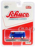 Volkswagen T1 Panel Bus Porsche Diesel Blue White Top European Classics Series Limited Edition 3600 pieces Worldwide 1/64 Diecast Model Schuco 4800