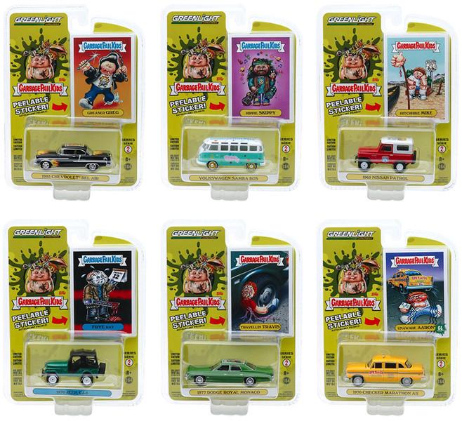 Garbage Pail Kids Series 2 6 piece Set 1/64 Diecast Model Cars Greenlight 54030