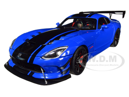 2017 Dodge Viper ACR Competition Blue Black Stripes 1/18 Model Car Autoart 71734
