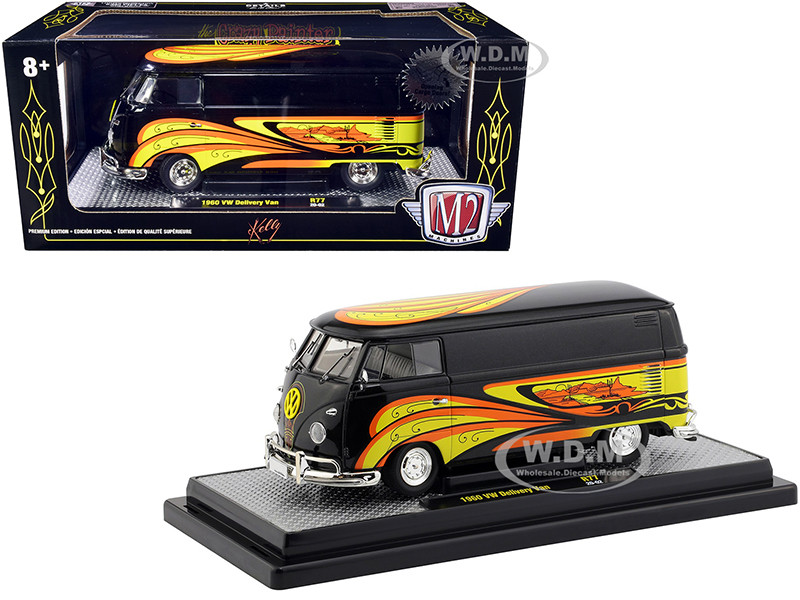 1960 Volkswagen Delivery Van Black Pearl Kelly Crazy Painter Limited Edition 6880 pieces Worldwide 1/24 Diecast Model M2 Machines 40300-77 B