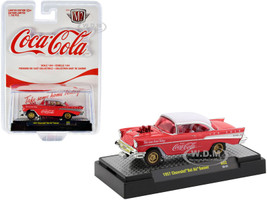 1957 Chevrolet Bel Air Gasser Coca-Cola Coke Red White Top White Red Interior Clear Red Windows Limited Edition 7750 pieces Worldwide 1/64 Diecast Model Car M2 Machines 52500-A02